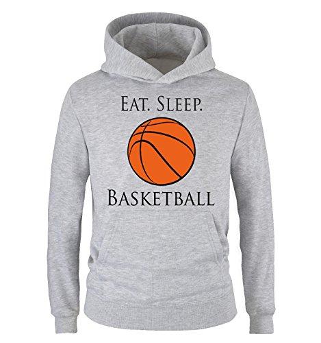 Comedy Shirts - EAT. Sleep. Basketball - Kinder Hoodie - Grau/Schwarz-Orange Gr. 152/164