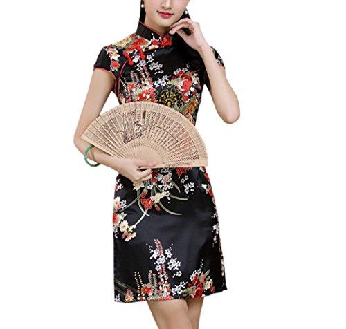 XueXian(TM) Vestito retrò Cinese Qipao Tradizionale Mini Cheongsam a Maniche Corte(Nero,China S=IT 38)