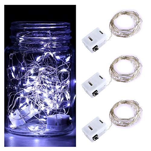 DLISITING 3 Pack Fairy String Lights with 3 Flashing Modes 7 ft 20 LED Mini Novelty Waterproof Copper Wire Starry Firefly Lights Battery Operated (Included) for DIY Wedding Party (Cool White)