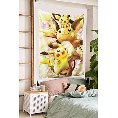"""Grtswp Pikachu And Raichu Tapestry, Wall Hanging Tapestries Europe Tapestry, Wall Decor for Dorm Bedroom Living Room 60""""x 40'"""