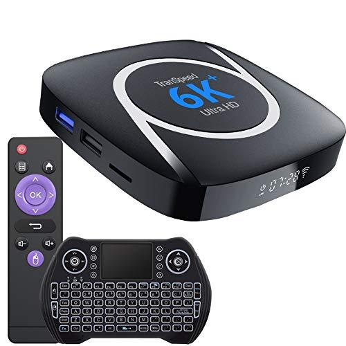 Android 10 TV Box, Allwinner H616 4GB 128GB Support 4K 6K 3D Ultral HD Video Smart tv Box with Mini Keyboard