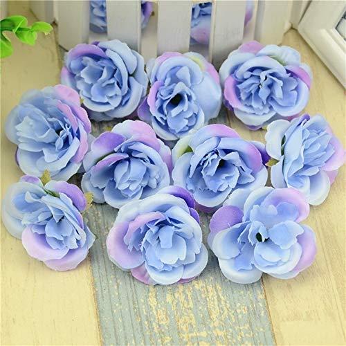 DDDCM 10pcs de Seda de Flores Artificiales Cabeza se levantó for la decoración de la Boda Accesorios for el hogar Falsa Fiesta del Libro de Recuerdos de la Guirnalda (Color : Azul)