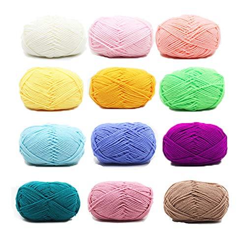 Sunbbingsp Fils de Coton, 12 Pcs Coton a Crocheter, Laine à Tricoter Coton, Coton pour Crocheter, Tricot Coton Lot de Coton a Crochet, Fil Coton a Tricoter pour Tricot et Crochet