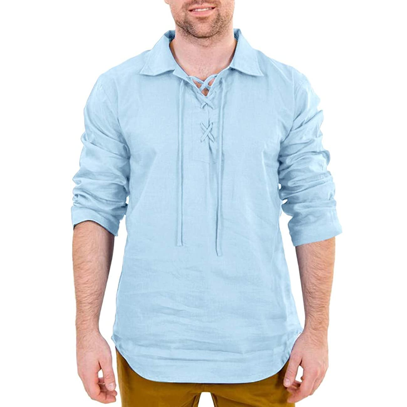 Men's Cotton Linen Shirts Summer Solid Long Sleeve Turn-Down Vintage Tee Tops Blouses