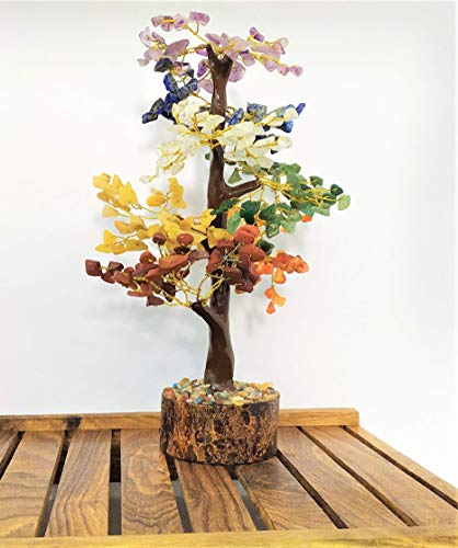 PYOR Seven Chakra Bonsai Feng Shui Chakra Balancing Money Tree Reiki Healing Aura Crystal Cleansing EMF Protection Good Luck Decor Prosperity Stones Golden Wire (10-12 inch)