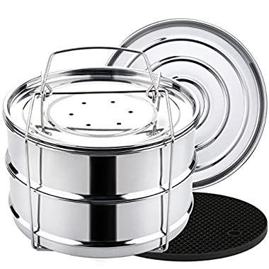 Aozita Stackable Stainless Steel Steamer Insert Pans with Sling for 8 Qt Instant Pot Accessories - Food Steamer for 8 Quart Pressure Cooker Cooking, Upgrade Interchangeable Lids Included