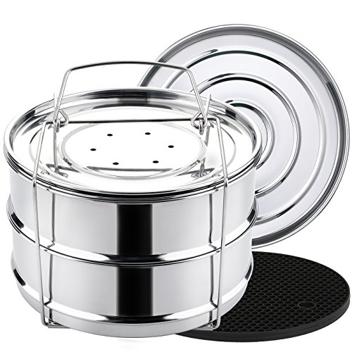 Aozita 8 qt Steamer Insert Pans for Instant Pot 8 Quart Accessories - Stackable Food Steamer with Sling for Pressure Cooker Pot in Pot Cooking, Baking, Casseroles, Lasagna Pans - Interchangeable Lid