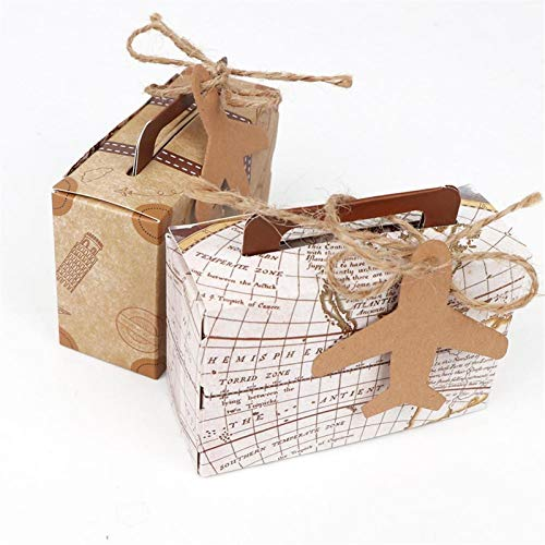 Paper Tube Box Cardboard Boxes Mini Suitcase Kraft Paper Candy Box Gifts Box Travel Themed Wedding Party Favors For Guests Baby Shower Birthday Party Supplies ( Color : Kraft , Gift Box Size : 20pcs )