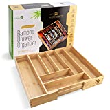 Pristine Bamboo Adjustable Flatware Drawer Organizers - Large Extra...
