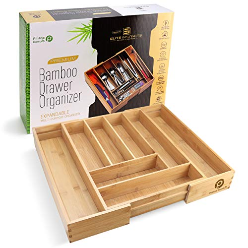 PRISTINE BAMBOO Silverware Tray for Drawer Organizer - Kitchen Drawer Organizer - Cutlery Organizer in Drawer - Silverware Organizer Flatware Silverware Holder Expandable Adjustable Wooden Dividers