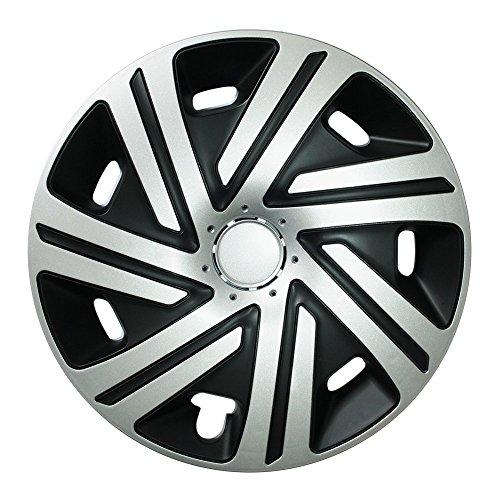 Autoteppich Stylers (Größe wählbar!) Radzierblenden 15 Zoll – CYRKON (Schwarz-Silber) passend für Fast alle Fahrzeugtypen (universal)