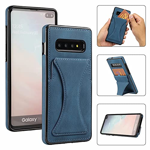 Funda para Samsung Galaxy s10 Plus Funda Carcasa Forro celulares Case DYGG Compatible con Soporte Plegable Invisible 3D 3 en 1 Cover PU+TPU Cuero con magnético Ranura para Tarjetas Case(Azul)