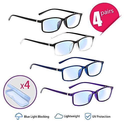 Lesebrille 4 Pack Blaulichtfilter Brille Anti Müdigkeit Anti Blaulicht PC Gaming Brille mit 4 Tragbaren Brillenetuis (3.0x, 4 Mix Farbe)