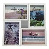 Smiling Art Marco de fotos collage para varias fotos, de madera de densidad media con cristal (blanco, 4 x 10 x 15 cm)