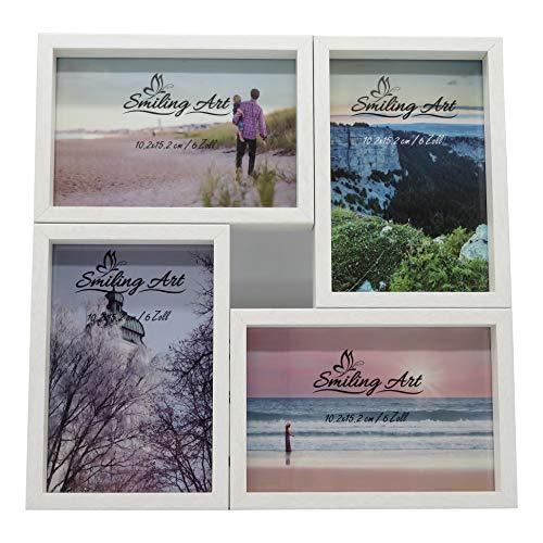 Smiling Art Bilderrahmen Fotorahmen Collage für mehrere Fotos, Foto Collage aus MDF Holz mit Glas (Weiß, 4x10x15 cm)