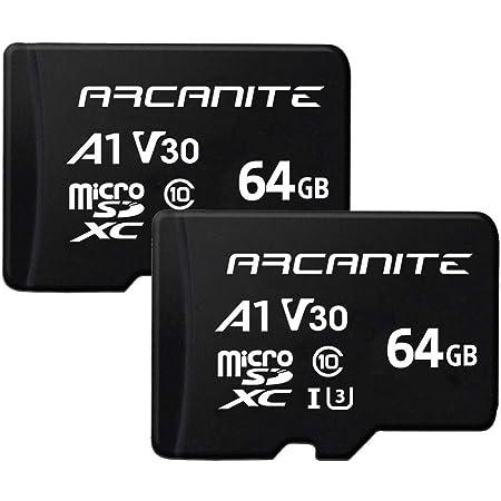 ARCANITE 2 Stücke 64 GB microSDXC Speicherkarte - A1, UHS-I U3, V30, 4K, C10, MicroSD, Lesegeschwindigkeit von bis zu 90 MB/s