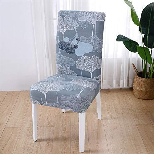 RGBVVM Stuhlhussen Graue Blätter Universal Stretchhusse Stuhlbezug Stretch Abnehmbare Waschbar Stuhlbezug für Hotel, Restaurant Dekor(4 Stück)