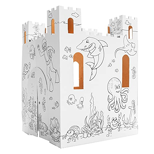Easy Playhouse Sand Castle – Kids Art & Craft for Indoor & Outdoor Fun, Color, Draw, Doodle – Decorate & Personalize a Cardboard Fort, 32″ X 32″ X 43. 5″ – Made in USA, Age 3+ [AMZ Exclusive]