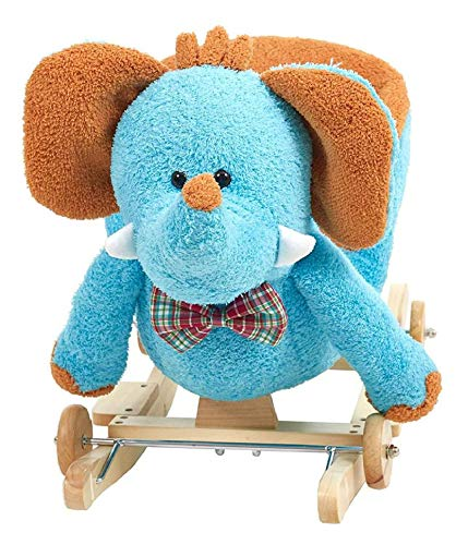 Best Buy! K&A Company Baby Plush Rocking Horse Wooden Chair Rockers with Wheels,Seat Belt Ki –