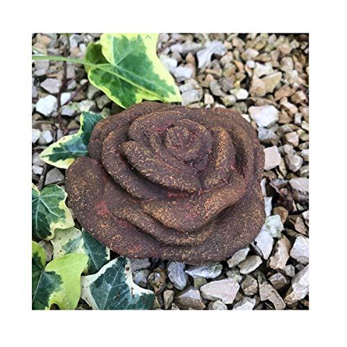 Radami Stein Rose Steinrose Rosenblüte Blüte Blumen Steinguss frostfest wetterfest Garten Deko Rost Metall Optik Handarbeit/aufwendig von Hand bemalt (10cm-Rost-Patina)
