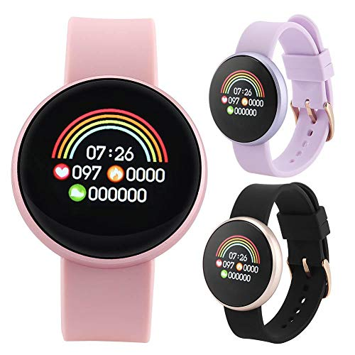 Reloj inteligente redondo, monitor de ritmo cardíaco, monitor de sueño, fisiológico de período, impermeable, redondo, pulsera de fitness