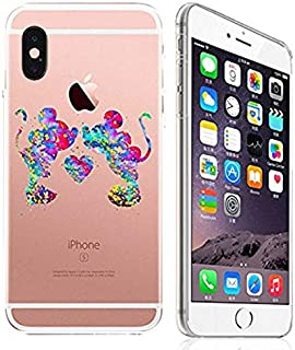 DECO FAIRY Compatible with iPhone xr, Cartoon Land Famous Forever Young Anime Animated Love Heart Couple Lovers Art Paint Splash Artwork Series Transparent Translucent Flexible Cover Case