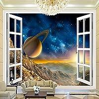 カスタマイズされた3Dスペースウィンドウのビュー惑星の壁壁画3D部屋の風景の壁紙リビングルームのソファの背景の壁紙, 250cm×175cm