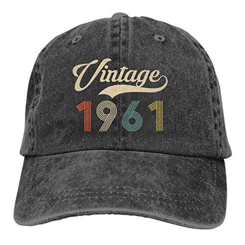 Retro Vintage 1961 60th Birthday Hat Vintage Classic 60 Years Old Baseball Cap Adjustable Washable Cotton Trucker Cap