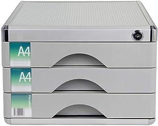 KANJJ-YU Bureau tiroir Sorter, en alliage d'aluminium 3 couches supports à journaux tiroir verrouillable bureau Organisate...