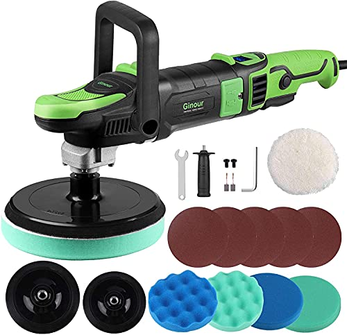 Polisher, Ginour Rotary Buffer Polisher, 1200W Digital Display, 6 Variable Speed with 180mm /150mm Backing Plate, 4pcs Polishing Discs, 1pcs Wool Disc 5pcs Sandpaper, for Cars, Boats, Furniture, Wood