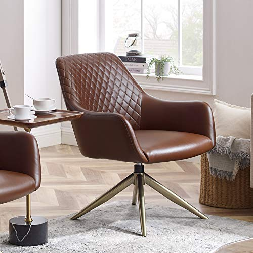Art Leon Modern Upholstered Swivel Accent Chair with Arms for Small Spaces Home Office Living Room Bedroom, Cognac