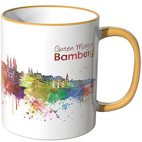 WANDKINGS® Tasse, Schriftzug Guten Morgen Bamberg! mit Skyline - DUNKELGELB