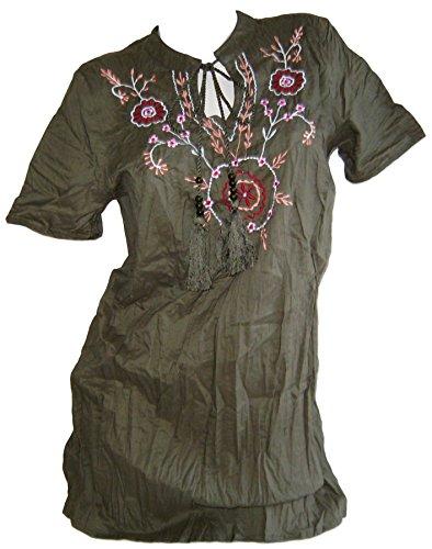 SHEEGO Damen Tunika Bluse Longbluse khaki Übergrößen (42)