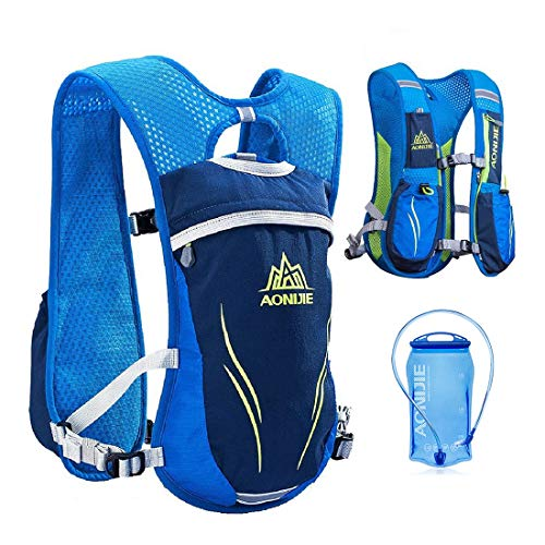 Hydration Running Backpack Outdoors Trail Marathoner Race Rucksack Cycling Vest Running Pack, Lightweight Sport Bag with Water Bladder, Pockets for Men, Women, Kids (1 Bag+1 Bladder)