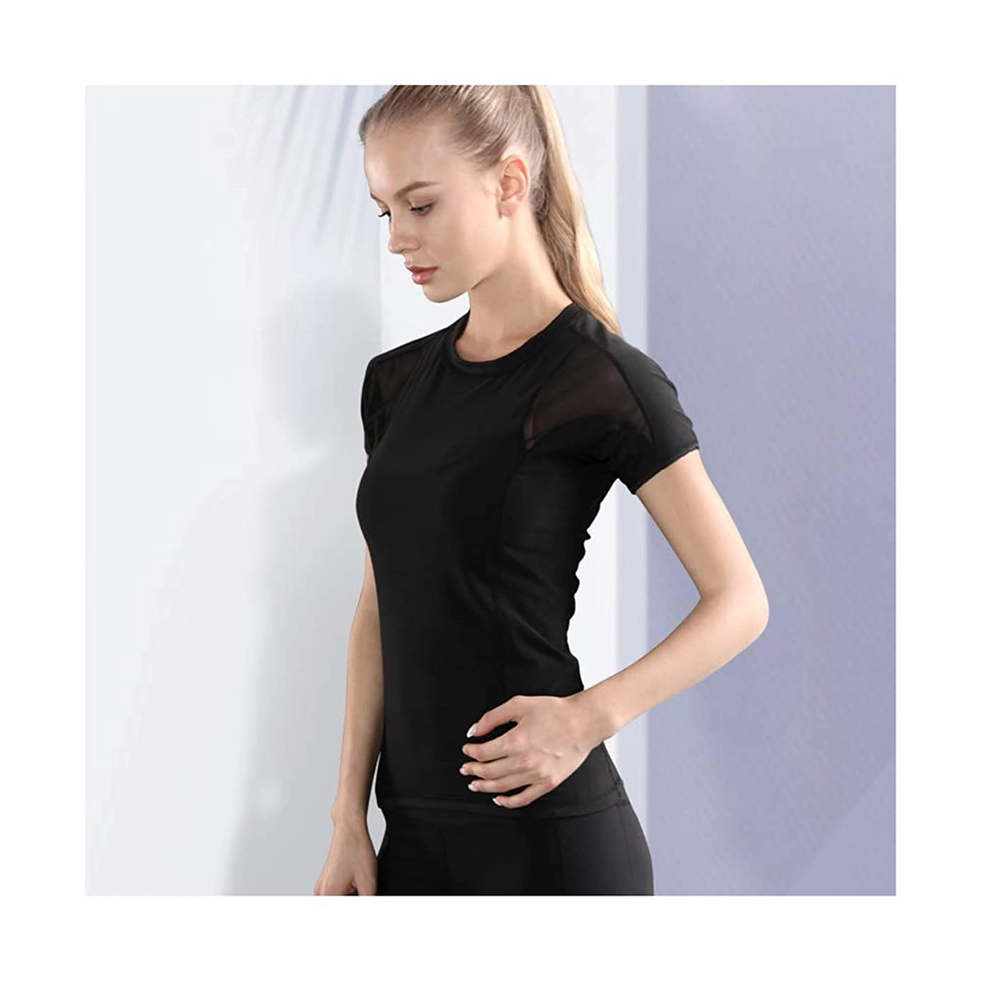 Sports Quick-Drying T-Shirt Yoga Clothes Fitness Clothes Women Sports Tops Black