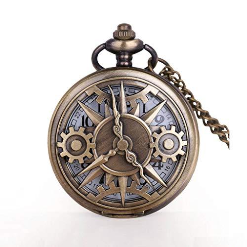 YUTRD ZCJUX Reloj de Bolsillo de Cuarzo con Movimiento de Engranaje Hueco de Bronce Steampunk Antiguo Colgante Regalo con Cadena Relojes de Bolsillo Reloj Regalo niños Hombres