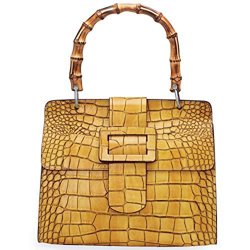 Stauer Damen Tasche aus italienischem Leder mit Bambusgriff