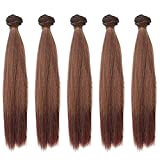 5pcs/lot 9.84 Inch Long Straight Synthetic Natural Dark Brown Handcraft Hair Wefts for Making BJD Blythe Pullip Doll's Wig