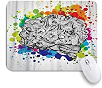 VAMIX マウスパッド 個性的 おしゃれ 柔軟 かわいい ゴム製裏面 ゲーミングマウスパッド PC ノートパソコン オフィス用 デスクマット 滑り止め 耐久性が良い おもしろいパターン (人間の脳の創造についての脳のアイデア落書きベクトル概念)