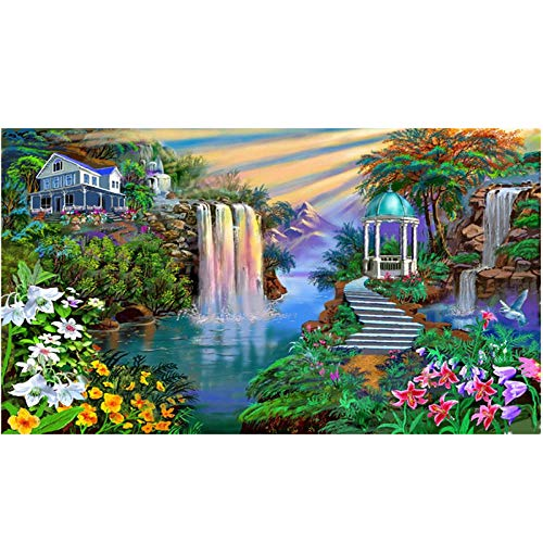 LMMLYR DIY 5D Diamante Pintura por Número Kit Cascada de la villa con jardín Cuadro de Bordado de Diamantes Rhinestone Mosaico 5D Taladro completo bordado de diamantes de imitación 16x20