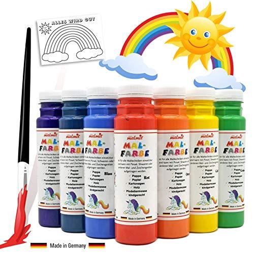Play malmit® 7er Regenbogen Set Malfarbe je 250ml Temperafarbe Schulfarbe Farben mit Vorlagen