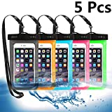 5 Pack Universal Waterproof Phone Pouch, Large Phone Dry Bag Waterproof Case for Apple iPhone Pro Xs XR XS 12 11 10 9 8 7 6 Plus,SE, Samsung S10 S10+ S9+ S9 S8+,Note,up to 6.5'