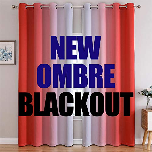 G2000 Blackout Curtains & Drapes for Bedroom Living Room 84 Inches Long Coral and Greyish White Room Darkening Window Treatments Ombre Thermal Insulated Light Blocking Grommet Backdrop 2 Panels Set