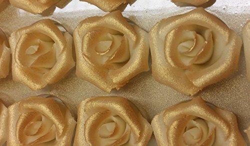 Sweet Konzept Marzipanrosen 35mm Ø, 24 Stück, Farbe:Gold