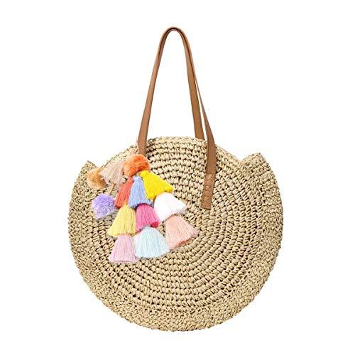 louzheni Runde Stroh Strandtasche Quaste Handgemachte Rattan Woven Straw Handtasche Sommer-Strandtasche im Freien Strand