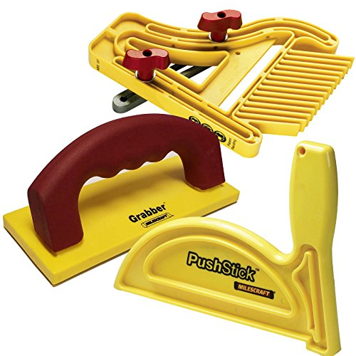 Milescraft 7334 Safety Bundle - Includes FeatherBoard, PushStick and FREE Grabber push block