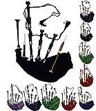 AAR Schottischer Great Highland Dudelsack mit schwarzer Kordel und silberfarbener Halterung, schwarze Oberfläche, inkl. Tutorbuch