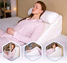 Flexicomfort Memory Foam Wedge Pillow for Sleeping with Adjustable Head Support Cushion - Post Surgery Pillow - Folding Incline Cushion System for Legs - Washable Cover