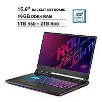 ASUS ROG Strix 15.6 Inch FHD 1080P Gaming Laptop - Intel Core i5-9300H up to 4.1 GHz, NVIDIA GeForce GTX 1660 Ti 6GB, 16GB RAM, 1TB SSD (Boot) + 2TB HDD, RGB Backlit KB, Bluetooth, WiFi, HDMI, Win10