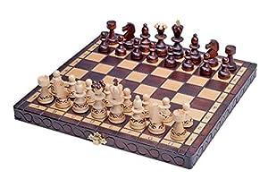 KADAX Schachspiel aus Holz mit Figuren, Schach für Kinder, Anfänger, Erwachsene, klappbares und hochwertiges Schachbrett, Schachkassette für Haus, Reise, einfach zu tragen (Feldgröße: 30 x 30 cm)